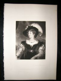 Aft Thomas Lawrence 1845 Folio Mezzotint Portrait. Duchess of Northumberland